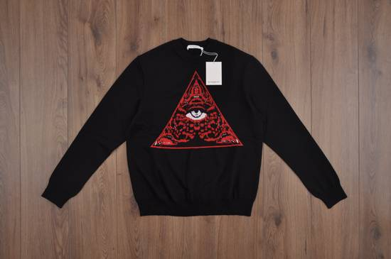 Givenchy Black Wool Knit Sweater With Red 'Eye of Providence' on front Size US L / EU 52-54 / 3 - 4