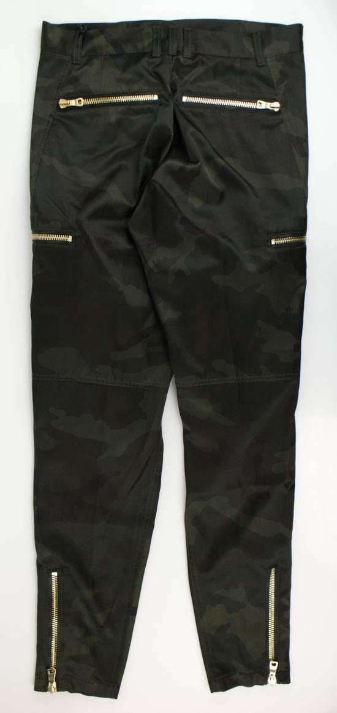 Balmain Men's Green Cotton Blend Camouflage Biker Pants Size L Size US 36 / EU 52 - 3