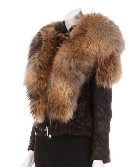 Balmain Waxed Raccoon Fur Suede Biker Leather Jacket Size US XS / EU 42 / 0 - 3