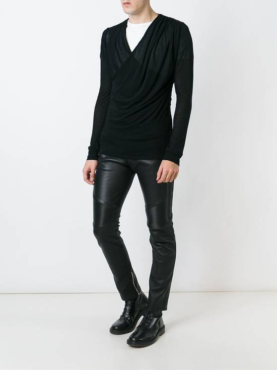 Balmain Draped Black Cotton & Linen V-Neck Sweater SS2016 Size US L / EU 52-54 / 3 - 2