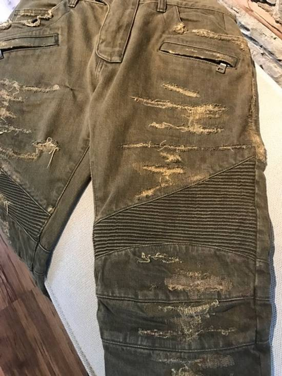 Balmain Balmain khaki destroyed biker jeans Size US 33 - 4