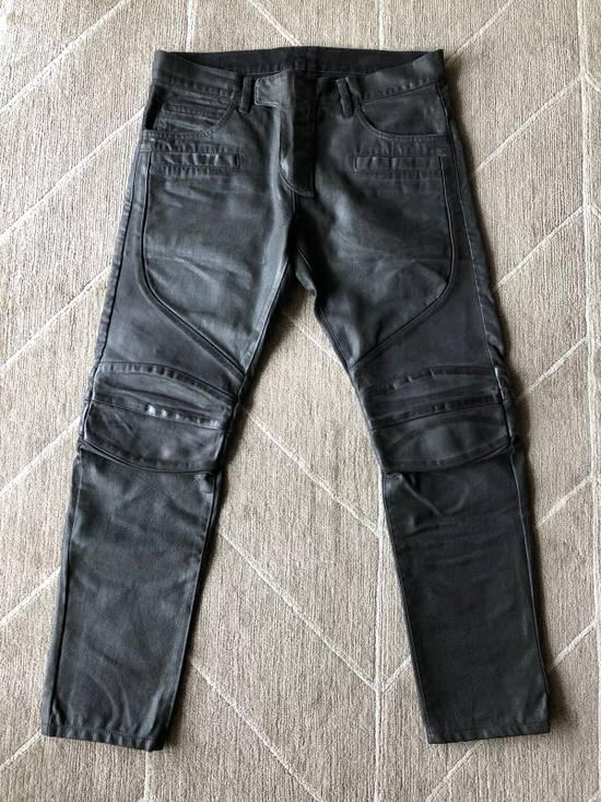 Balmain Biker Jeans Waxed Leather Knee Size US 30 / EU 46