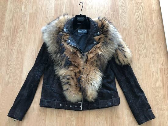 Balmain Waxed Raccoon Fur Suede Biker Leather Jacket Size US XS / EU 42 / 0 - 1