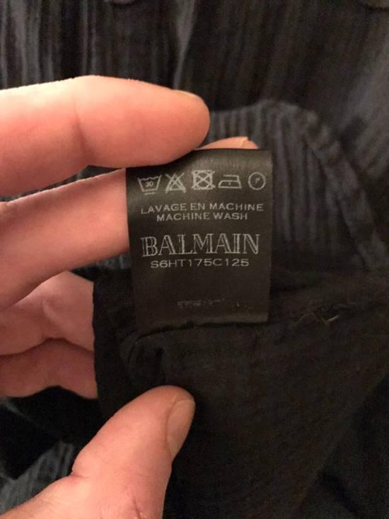 Balmain Black Mandarin Collar Wrinkle Effect Utility Shirt Size US M / EU 48-50 / 2 - 4