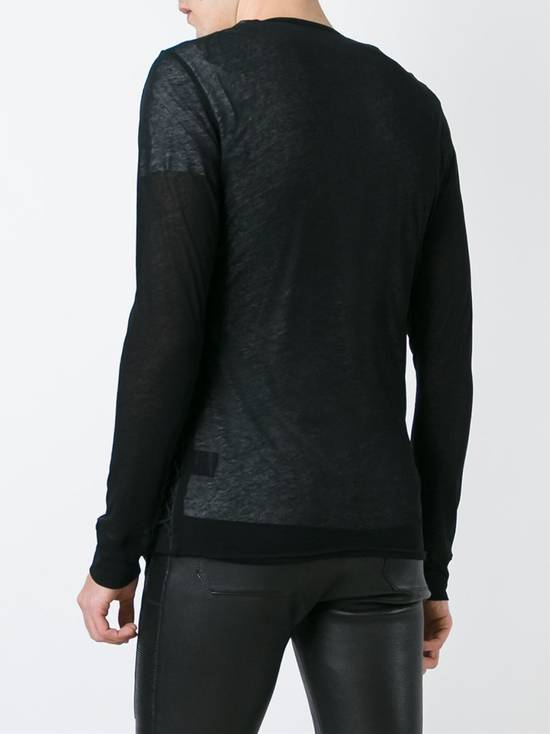 Balmain Draped Black Cotton & Linen V-Neck Sweater SS2016 Size US L / EU 52-54 / 3 - 4