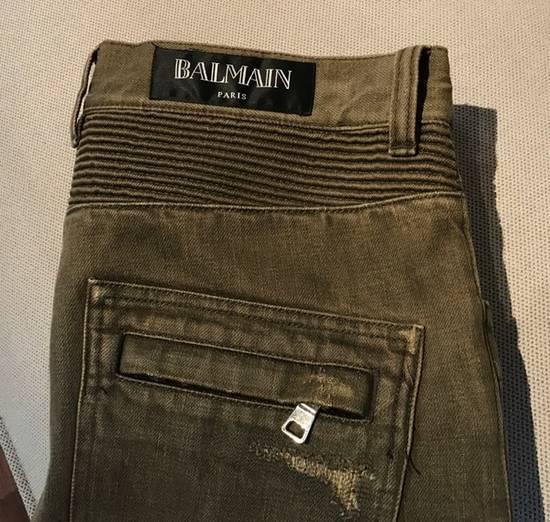 Balmain Balmain khaki destroyed biker jeans Size US 33 - 1