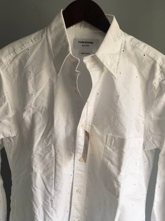 Thom Browne Button-Down Collar Embroidered Cotton Oxford Shirt, White Size3/Medium Brand New With Tags Size US M / EU 48-50 / 2 - 4