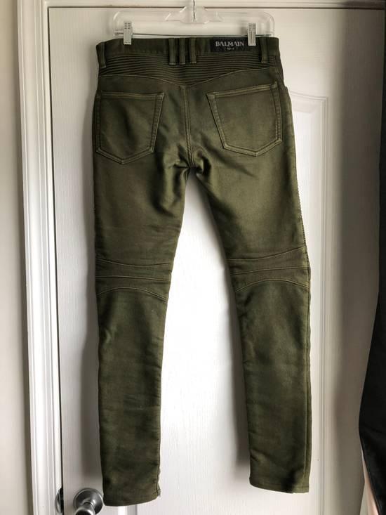 Balmain Very Rare Balmain Khaki Green Cotton Stretch Skinny Biker Jeans Size 28 Size US 28 / EU 44 - 2