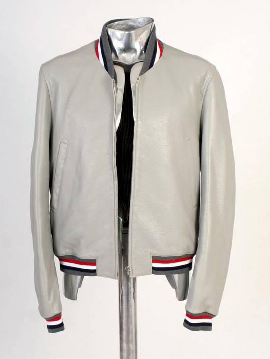 Thom Browne Thom Brown Deerskin Leather Varsity Jacket Grey Size 3 EU50 Medium RRP $3325 Size US M / EU 48-50 / 2 - 5