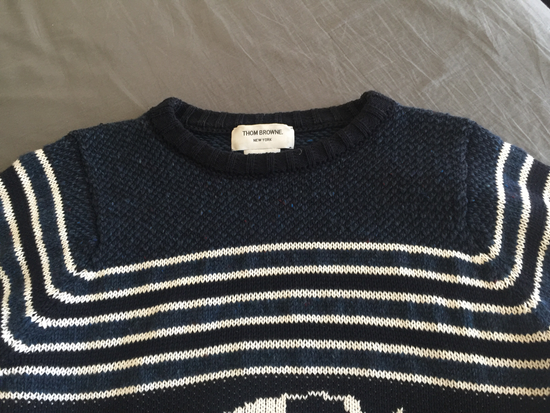 Thom Browne Black Fish Fair Isle Crewneck Sweater Size US M / EU 48-50 / 2 - 2