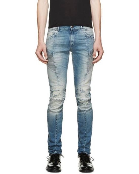 Balmain Pierre Balmain Blue Distressed Biker Jeans Size US 31 - 5