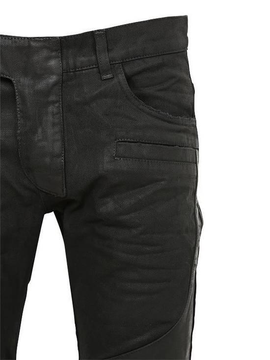 Balmain Balmain Leather & Cotton Black Denim Biker $1680 Authentic Jeans Size 33 New Size US 33 - 3