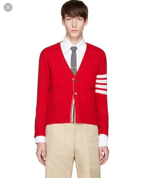 Thom Browne Short V-Neck Cardigan With 4-Bar Strip In Red Size US XXL / EU 58 / 5