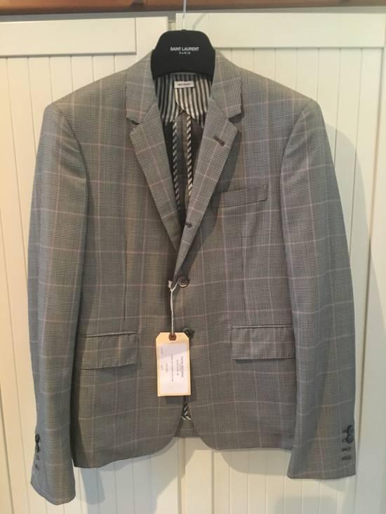 Thom Browne Men's Grey Black & White Prince Of Wales Wool Jacket Size US M / EU 48-50 / 2