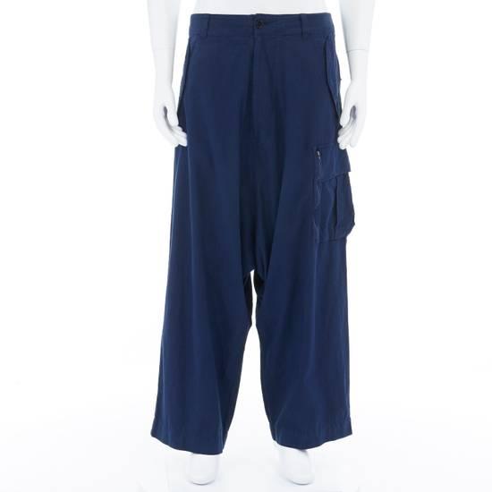 """Yohji Yamamoto YOHJI YAMAMOTO blue cotton dropped crotch exteme wide leg cargo pants JP3 33"""" L Size US 33"""