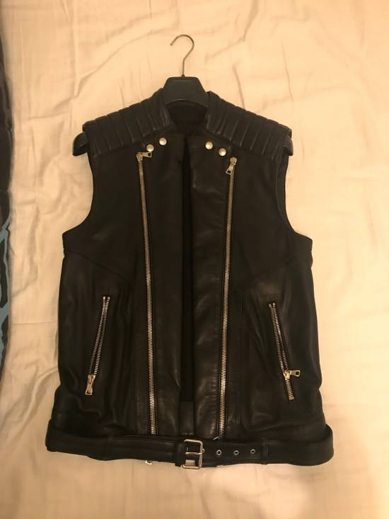 Balmain Leather Sleeveless Biker Jacket Size US M / EU 48-50 / 2