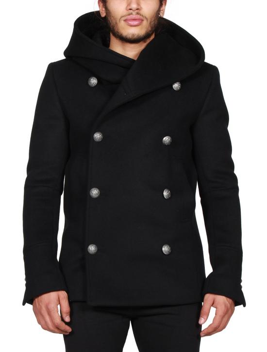 Balmain Black Peacoat Oversize Hood Wool Duffle 52 50 42 Black $4,889 New Size US L / EU 52-54 / 3 - 4
