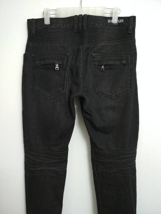 Balmain Authentic BALMAIN Dark Grey Slim Biker Stretch Denim Jeans Made in Italy Size US 32 / EU 48 - 1