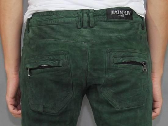 Balmain Balmain Green Lamb Suede Leather Biker Pants Size: 28-XS Size US 28 / EU 44 - 5