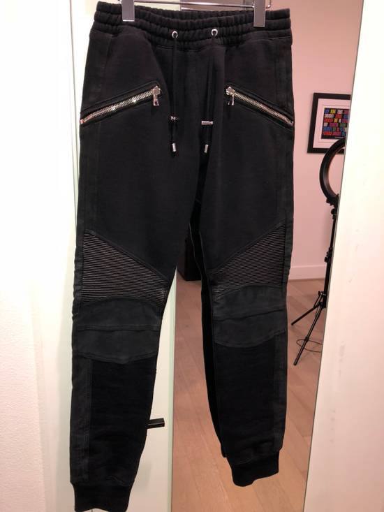 Balmain Leather Trimmed Joggers Size US 29