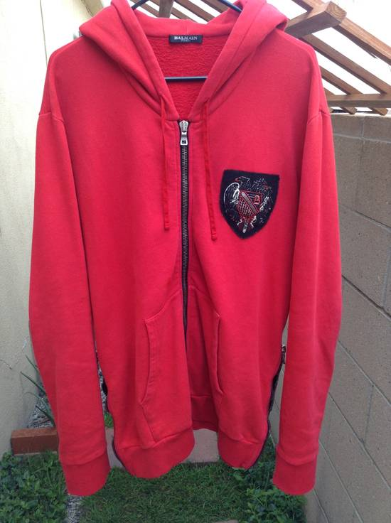 Balmain Red Crest Side Zip Hoodie Size US XL / EU 56 / 4