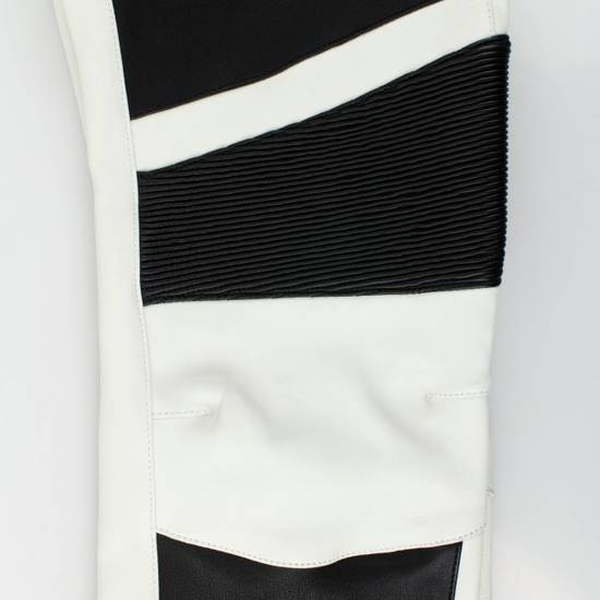 Balmain Black and White Contrast Leather Biker Pants Size XS Size US 30 / EU 46 - 6