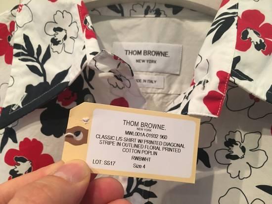 Thom Browne Floral Print Diagonal Stripe Poplin Cotton Shirt Size US XL / EU 56 / 4 - 1