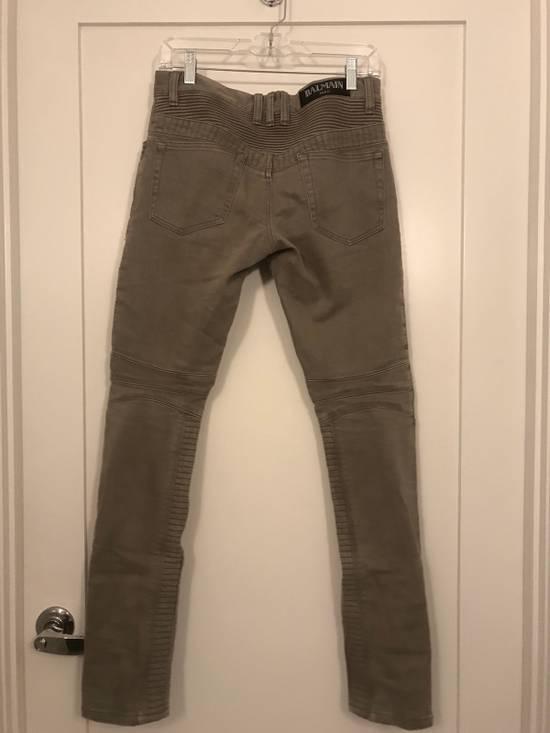 Balmain Balmain Beige Biker Rib Zip Jeans Size US 27 - 2