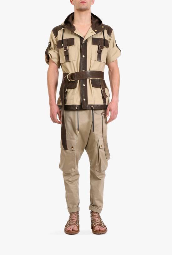 Balmain Leather and canvas hooded safari jacket Size US L / EU 52-54 / 3 - 4
