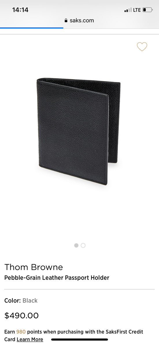 Thom Browne pebble grain leather passport holder Size ONE SIZE - 7