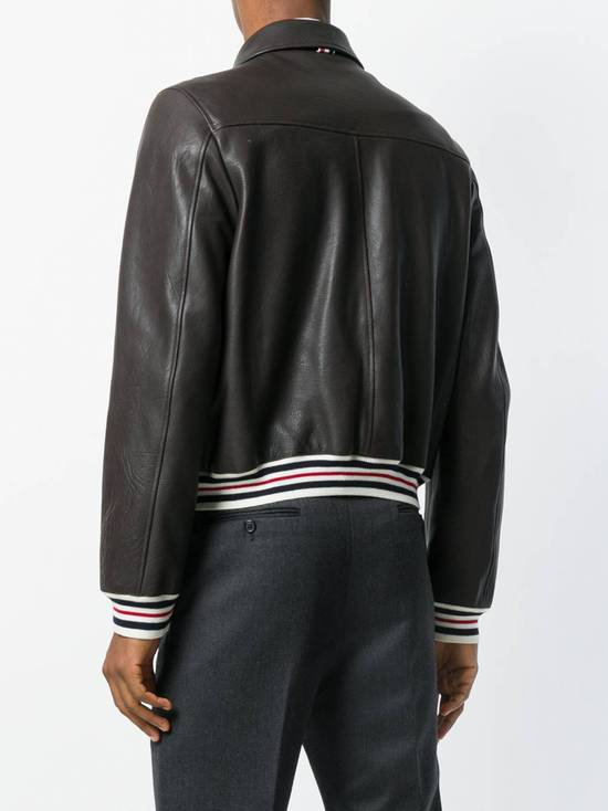 Thom Browne NEW WITH TAG, Striped Detail Leather Jacket (SIZE 4 - FITS SMALLER) Size US XL / EU 56 / 4 - 1