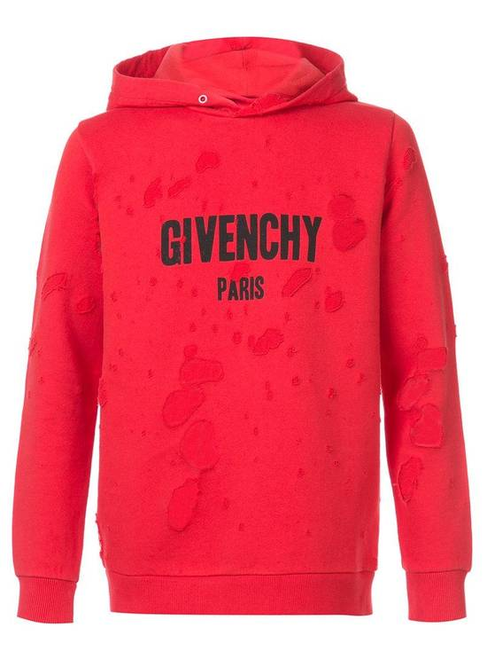 Givenchy Red Destroyed Logo Hoodie Size US S / EU 44-46 / 1 - 1