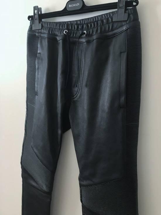 Balmain LAST DROP! Size M Fits S - Slim Fit Leather Ribbed Biker Style Sweatpants - $3100 Retail Size US 30 / EU 46