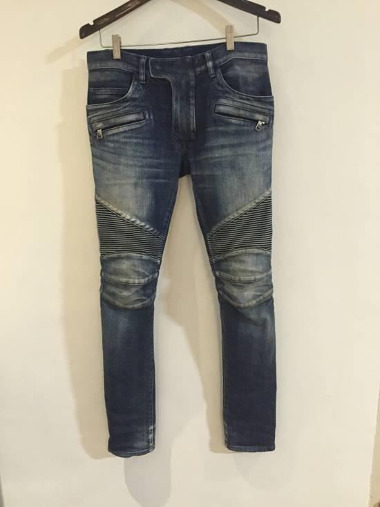 Balmain Classic Blue Denim BIKER RARE Jeans Size US 28 / EU 44 - 2