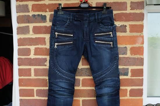 Balmain Dark Blue Double Zip Biker Jeans Size US 29 - 1