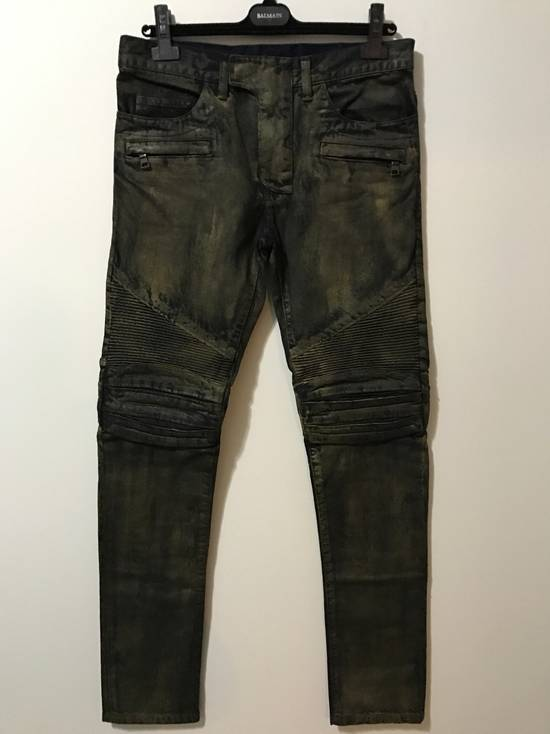 Balmain Dark W/Gold Wax biker Size US 30 / EU 46