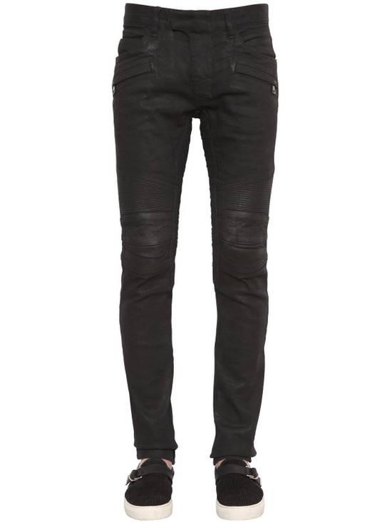 Balmain Balmain Black Denim Coated Authentic Biker $1230 Jeans Size 31 New Size US 31 - 4