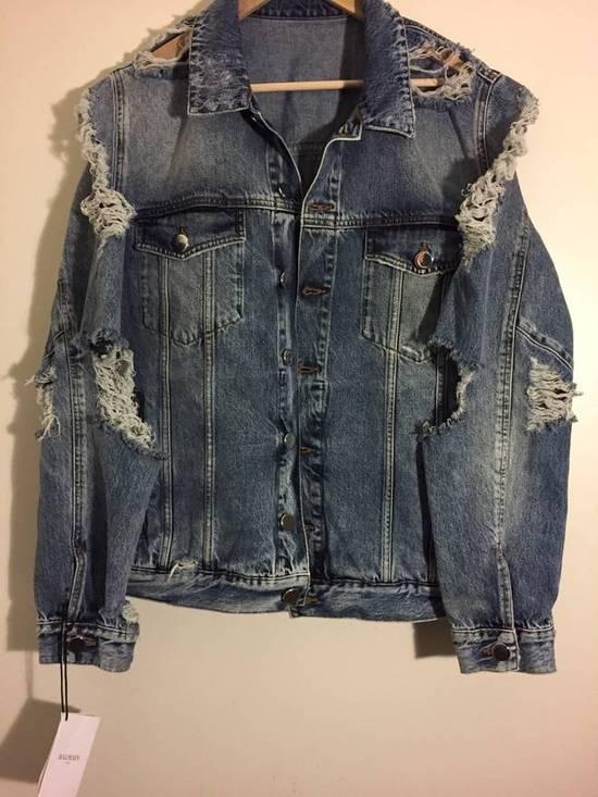 Balmain Blue Distressed Denim Jacket Size US XL / EU 56 / 4