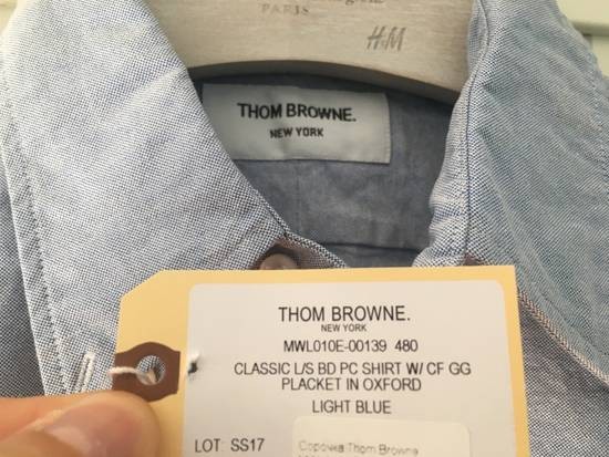 Thom Browne Light Blue Oxford Shirt w/Signature Grosgrain Placket Size US M / EU 48-50 / 2 - 1