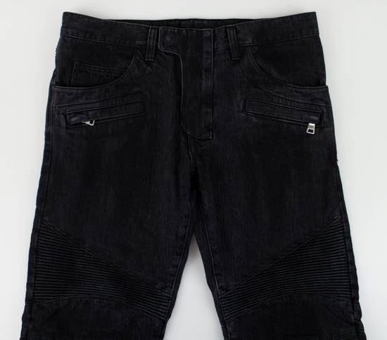Balmain Black Cotton Denim Biker Jeans Size US 34 / EU 50 - 1