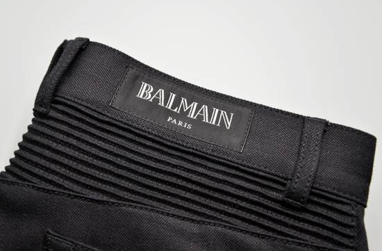 Balmain Black Raw Denim Biker Pants Size US 32 / EU 48 - 7