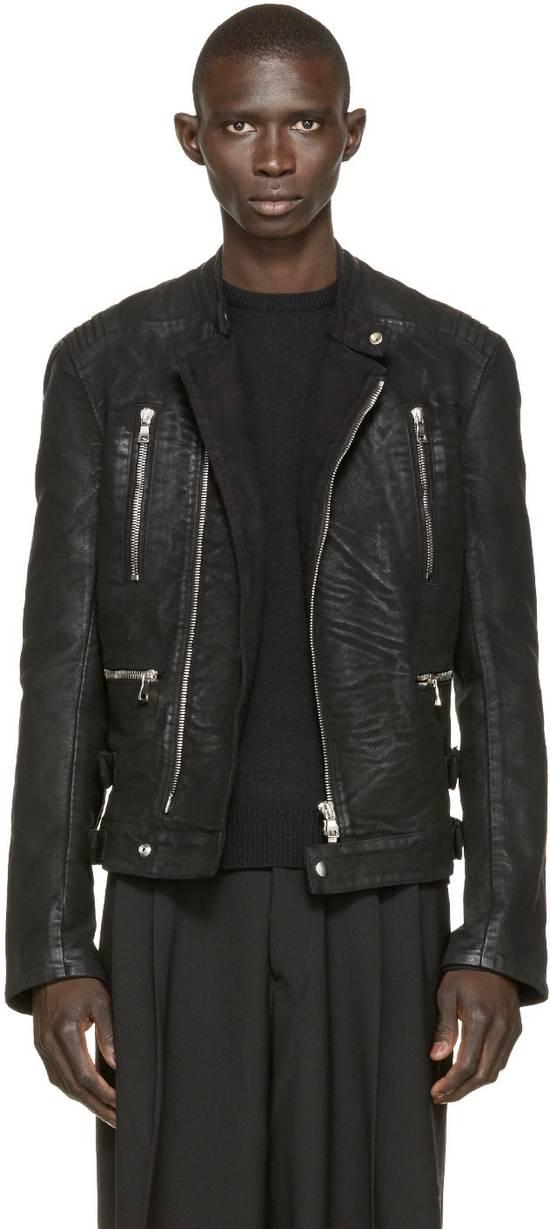 Balmain RARE Waxed Moleskin Biker Jacket Size US L / EU 52-54 / 3