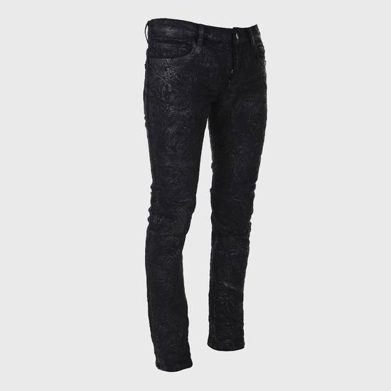 Balmain Midnight Blue Waxed Embroidered Jeans Size US 27 - 13