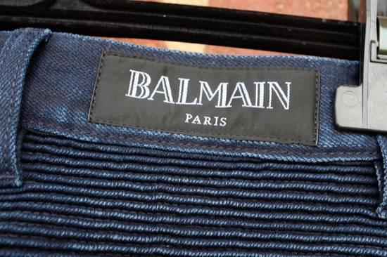 Balmain Dark Blue Double Zip Biker Jeans Size US 29 - 3