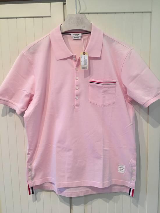 Thom Browne Striped Trim Polo Shirt in Light Pink Size US L / EU 52-54 / 3
