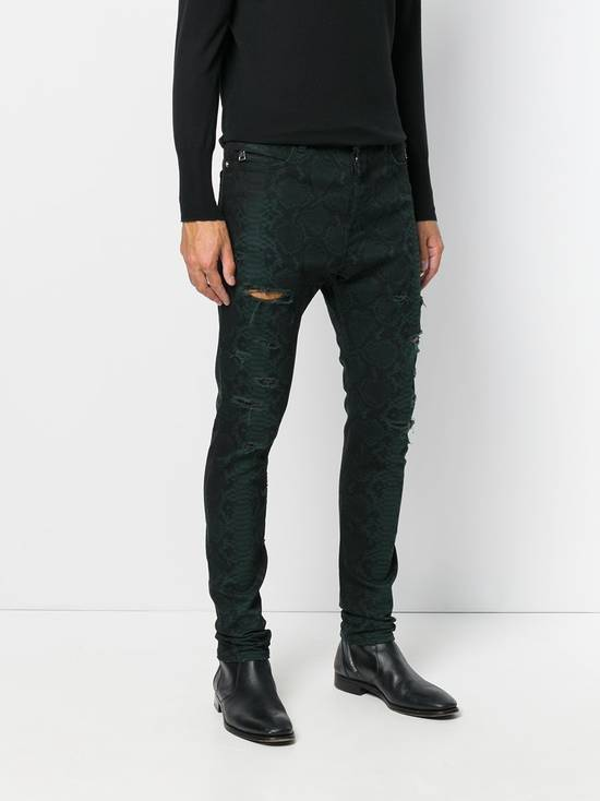 Balmain BNWT $2.1K Snake Finish Print Distressed Holes Jeans Denim Biker Moto Motorcycle Clout Streetwear Tapered Size US 32 / EU 48