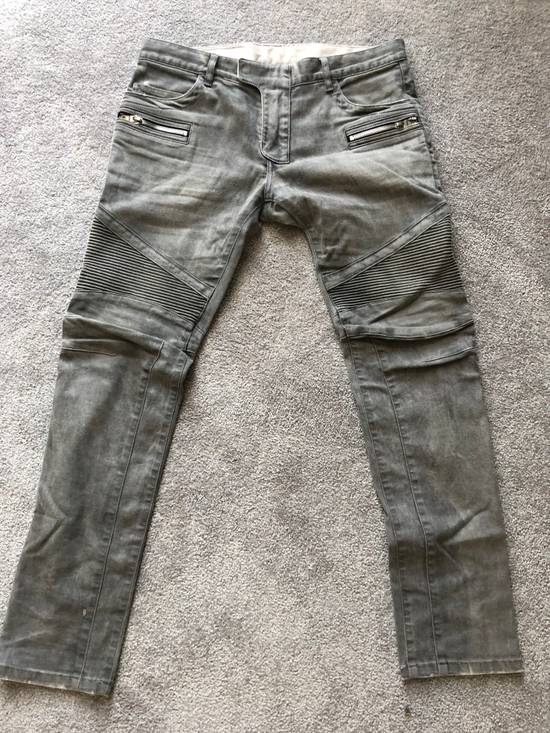 Balmain Balmain Grey Faded Biker Denim Size US 33