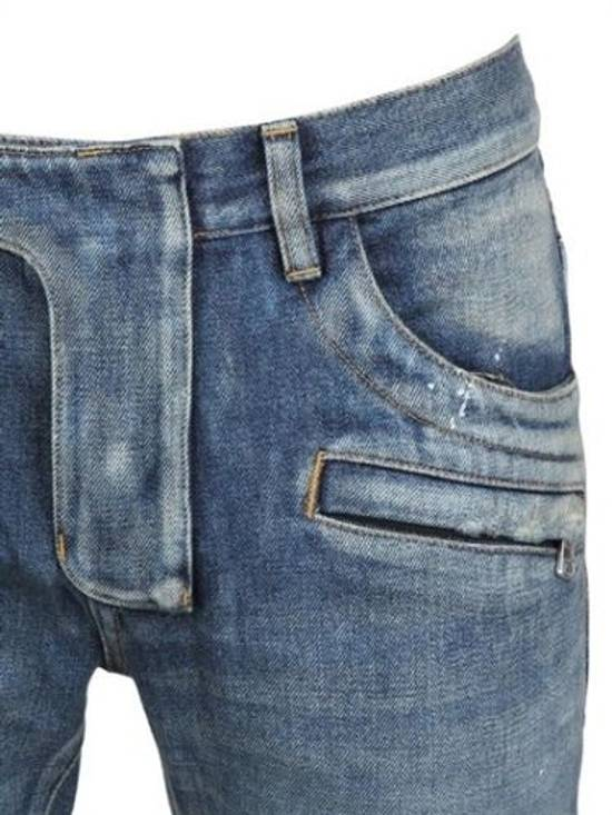 Balmain Balmain Painted Denim Blue Biker Authentic $1490 Jeans Size 27 Size US 27 - 3