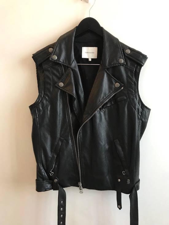 Balmain $1200 Last Drop Before Delete Perforated Eco Leather Vest Black Size US M / EU 48-50 / 2