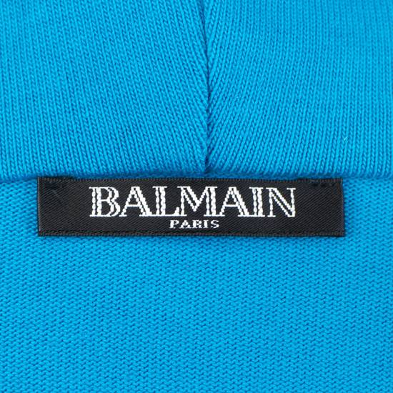 Balmain Men's Turquoise Cotton Zip-Up Long Hoodie Sweater Size Medium Size US M / EU 48-50 / 2 - 6